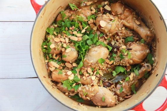One Pot Chicken with Spiced Brown Rice, Almonds and Cranberries